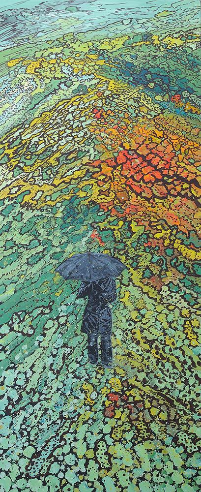 Femme au parapluie, lourd