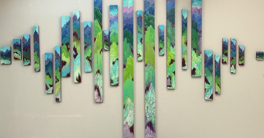 Paysages verticaux, panneaux de médium 2017