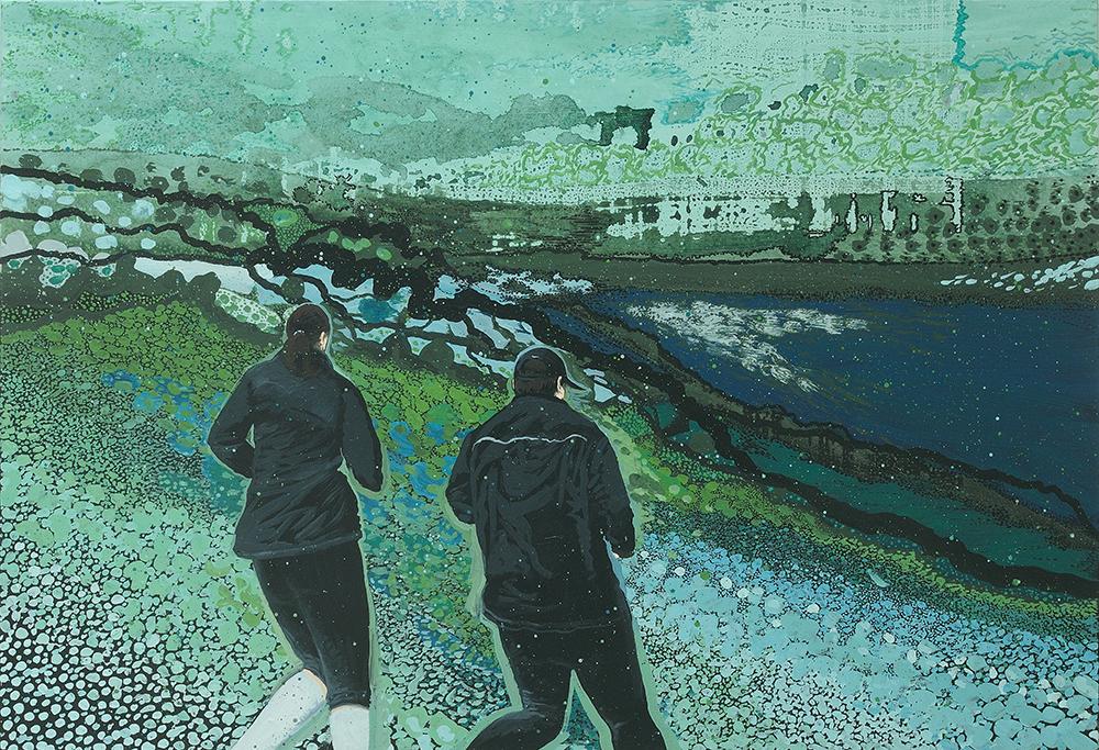 les joggeurs (paysage)